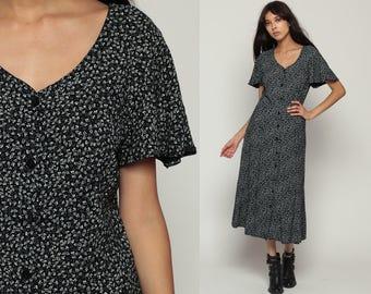 90s Midi Dress Black Floral Boho Grunge Print Button Up FLUTTER SLEEVE Bohemian Calico Print Vintage Retro Small Medium