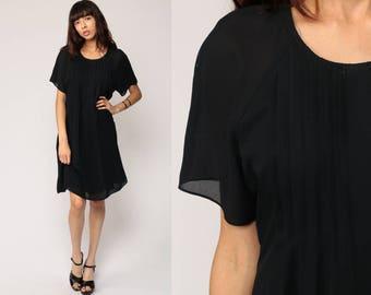 Black Mini Dress 90s Grunge LBD Minidress Pleated Drape Filmy Shift Short Sleeve Party 1990s Vintage Medium Large