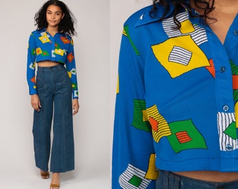 Cropped Blouse 70s Disco Top Bohemian Shirt Geometric Print 1970s Hippie Boho Long Sleeve Button Up Blue Yellow Small Medium