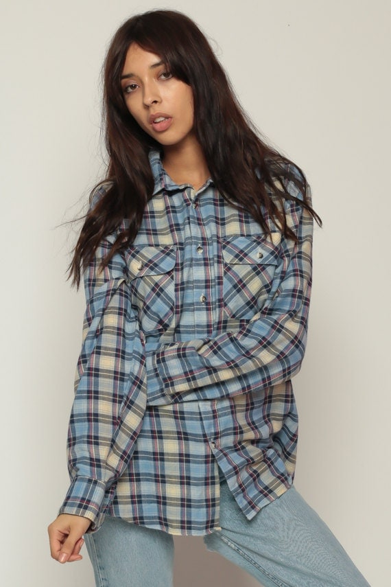Blue Plaid Shirt 90s Oversized Flannel Cream Yellow Button