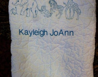 Animal Parade Baby Quilt - Reserved for David