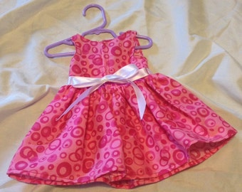Hot pink dress with circles for 18 inch doll