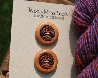 2 Wood Tree Buttons- Wooden Buttons- Eco Craft Supplies, Eco Knitting Supplies, Eco Sewing Supplies