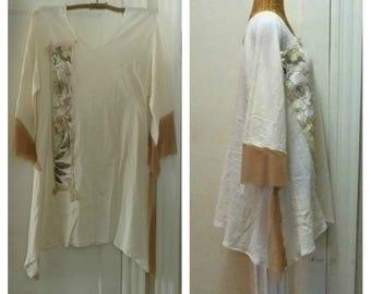 Botanical Panel Dress Large, 1X, 2X, 3X Trendy Collage Linen Print Lagenlook Art Wear Womens Boho Cotton Gauze Sari Silk Plus Sizes