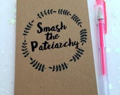 Smash the Patriarchy Small Journal/ Feminist Notebook/ Girl Power Notebook/ Feminist Gifts and Favors/ Plain, Lined, Sqaures Paper Choice