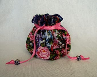 Drawstring Jewelry Pouch - Medium Size - Traveling Jewelry Tote - FLORAL FANTASY