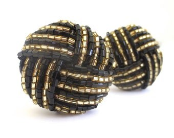 Vintage Black and Gold Beaded Knot Round Clip on Earrings