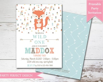 Tribal Fox Boy Birthday Party Invitation Printable with bonus double sided design - Print Your Own