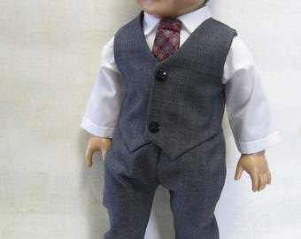 """Charcoal Gray Dress Suit for Logan and Other 18"""" Boy Dolls"""