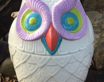 Owl cookie jar,  treat jar, owl decor, white, bright, happy, coral, purple, aqua, lime green