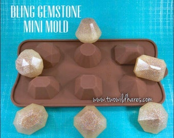 BLING GEMSTONE Mini Mold, Silicone, 6 Faceted Gem Shapes!