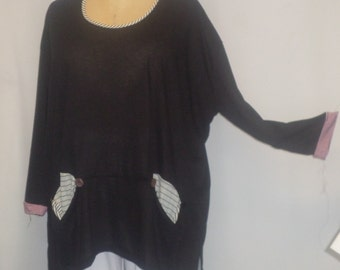 Womens Plus Size Top, Coco and Juan, Lagenlook, Plus Size Tunic, Black Knit Tunic Top, One Size Bust  to 62 inches
