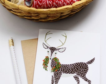 Deer Christmas Cards, Deer Christmas Stationery, Deer Greetings, Xmas Greetings, Winter Animal Cards, Box Set Xmas Cards, Xmas Novelty Cards