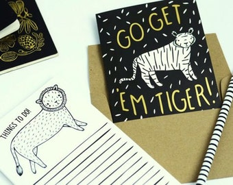 Go Get 'Em Tiger Card, Graduation Card, Congratulations Card, Gold Foil Card, Happy Mail, Gold Tiger Card, Blank Card, Thinking Of You Card