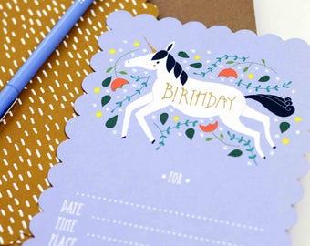 Unicorn Birthday Party Invitations, Blank Birthday Invitations, Fill In The Blank Unicorn Invitations, Unicorn Birthday Invitations