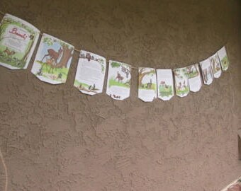"Bambi book banner, Story Book banner, storybook 74"" long plus 4ft. end twine, pennant flag Garland"