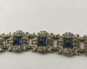 Vintage Rhodium Plated Sapphire Rhinestone Book Chain Link Bracelet