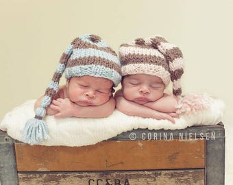 Striped Elf Hat Baby Boy Photo Prop Hand Knit Newborn Tailed Beanie Infant Stocking Cap Shower Gift Going Home Outfit Halloween Jack Lantern