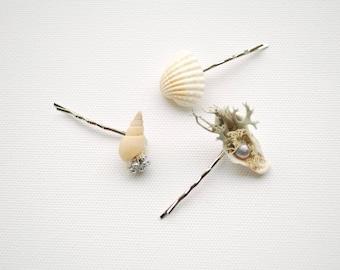 Beach Weddings Bridal Seashells Hair Pin Clip, Nautical Hawaiian Mermaid Weddings Hair Accessories, Flower Girls  Seashells Bobby Pins