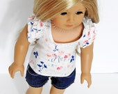Trendy American 18 Inch Doll Ruffle Sleeve Tee and Cut-Off Shorts