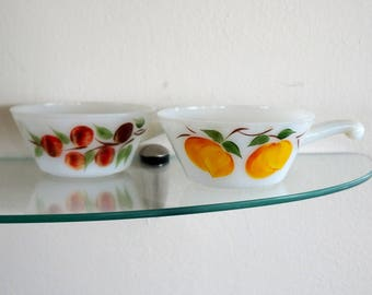 Vintage Milk Glass Soup Bowls Gay Fad Fruit Handled Casserole Hand Painted Handle Set of Two