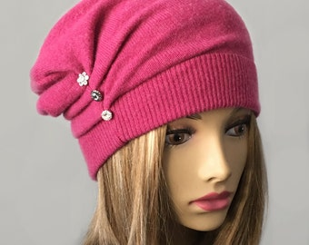 Gayla, 100% pure cashmere hat, Berry cloche with pleats and tucks,  buttons with Swarovski Crystals