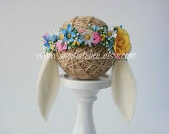 Felted Floppy Bunny Ear Headband Newborn Photography Prop