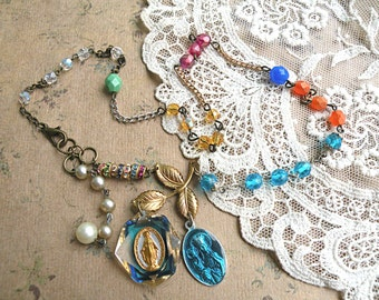 petite religious assemblage necklace medal catholic cottage chic upcycled vintage jewelry