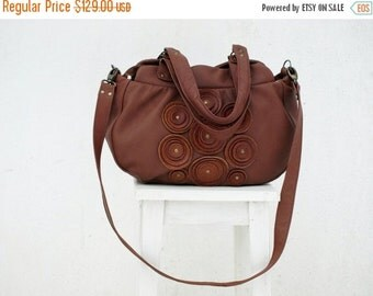 SALE Brown Leather Shoulder Bag, Brown Leather Bag, Women's Handbag, iPad Satchel, chistmas gift  Purse Shoulder Bag, gift for
