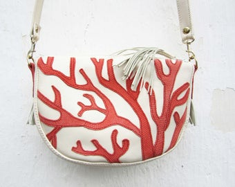 womens Leather Bag leather purse women, white leather purse, off white Leather messenger Purse, crossbody bag, tropical coral leather bag