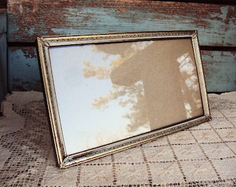 Vintage Metal Picture Frame Hollywood Regency Mid Century Mod Easel Back Wall Hanging White Washed Frame Ornate Baroque Rococo