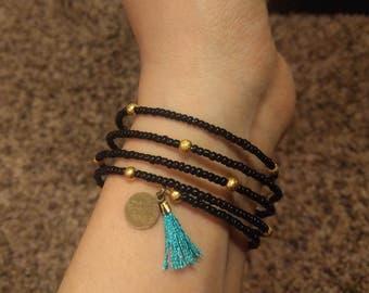 Black Beaded Wire Bracelet