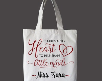It Takes a Big Heart to Shape Little Minds Tote Bag, Market bag, teacher Bag, Beach Bag, Book Bag, Summer Bag, Canvas Bag