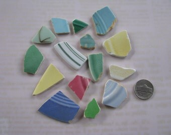 Beach pottery in fun mid century colors and patterns genuine sea pottery bright colors beach finds bulk sea glass real beachcomb supplies