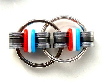 Fidget Toy Chain USA Flag Colors Silicone Ring ADHD ADD Autism Dexterity Focus Relaxation Concentration Hyperactivity Calming Device