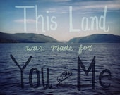 This Land Was Made For You and Me Postcard*Download*