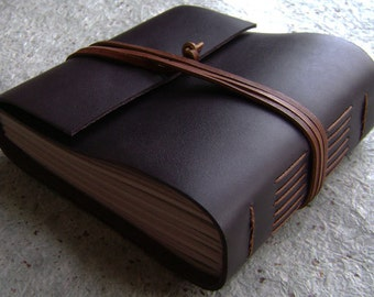 "Chunky leather journal, 408 pages, 5.5""x 5"", dark brown, handmade journal, (2275)"