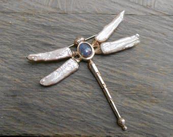 Unique sterling Silver Opal & Biwa pearl Dragonfly brooch / silver 925 / Bali handmade gem jewelry /  2.75 inches width / (#779m)
