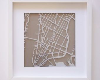 New York paper cut map