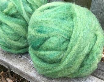 Alpaca Wool Roving, Spinning, Felting, Grass Green
