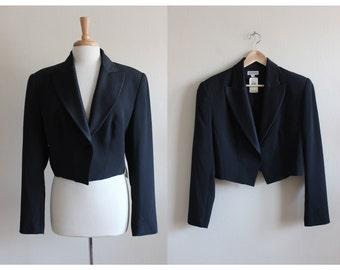 Vintage Georgiou Black Cropped Tuxedo Jacket