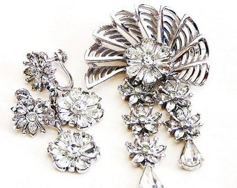 Pennino Dangling Flower Set or Demi Parure, Pennino Clear Crystal Brooch and Earring Set