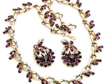 Hollycraft 1951 Amethyst Necklace with Earrings Set