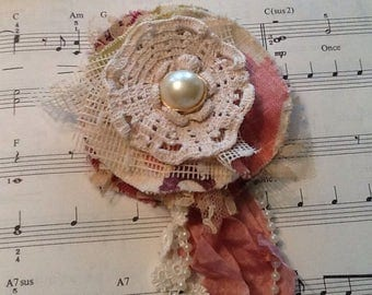 Lace and fabric flower pin, shabby chic, tattered flower, wedding, special from rachel