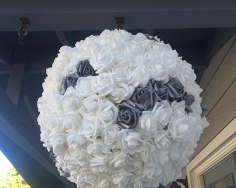 Wedding Pinata Pomander Guest Book Alternative White with Silver Accent