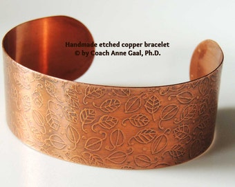 Handmade etched copper bracelet with tiny leaves
