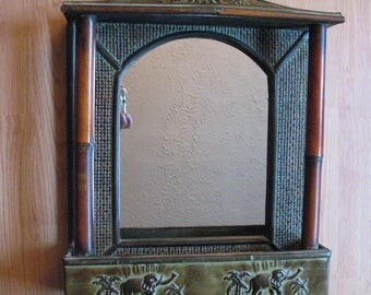 Just Reduced! - Large wall mirror with elephants and mail holder