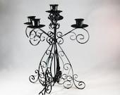 Black Wrought Iron Candelabra, Vintage Candlestick Holder