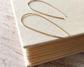 Gold Arc Earrings . Skinny Arc 14K Gold Filled Earrings . Hammered Open Hoop Minimalist Earrings . Skinny Gold Line Earrings