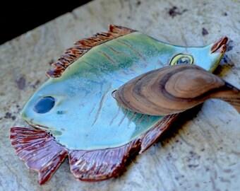 CERAMIC TROPICAL FISH.  Ocean Blue Soap Dish. Ceramic Jewelry Holder. Spoon Rest. Ceramic Hand Built Pottery. Handmade Ceramics.